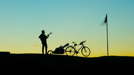 Virtuoso guitarist Richard Durrant is cycling 1,000 miles to perform 36 shows around the UK. Photo: