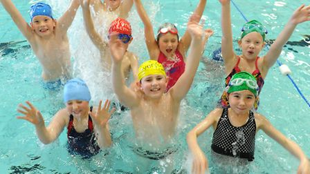 Children from Crawford Primary, Haughley take part in the the Schools version of the Great East Swim