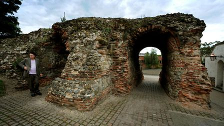 Martin Newell outside Balkerne Gate, part of Colchester's Roman wall