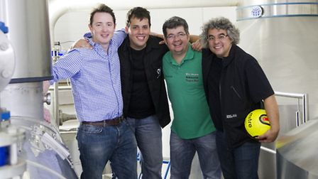 Adnams head brewer Fergus Fitzgerald, left, with the visitors from the Bodebrown Brewery in Brazil d
