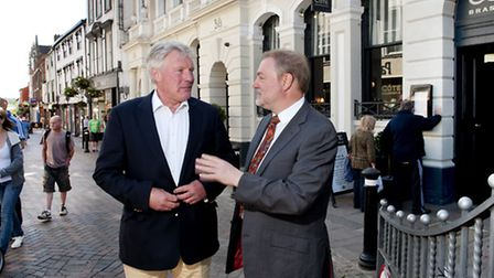 Council leader John Griffiths and councillor Alaric Pugh in the town centre, in Bury St Edmunds.