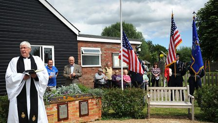 Memorial service at Westhall Village Hall unveiling plaques dedicated to the memory of the men who l