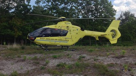 Anglia One at Westleton Heath, where the crew treated a woman who had suffered a snake bite.