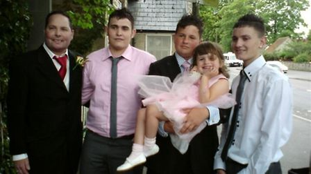 Andy Priest with his children; Declan, 23, Liam 18, Isobel, six, and Jordan, 21.