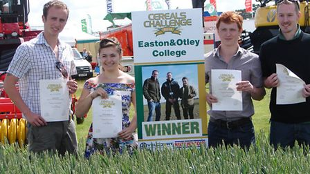 The winning team of the 2014 Cereals Challenge Easton & Otley College. From left to right Kyran List