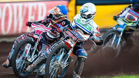 Rohan Tungate ahead of Ulrich Ostergaard an Ales Dryml in heat 9.Ipswich v Peterborough (Premier Le