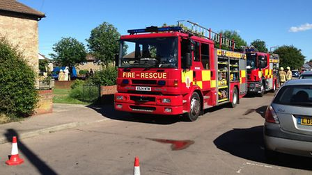 Crews at the scene of a garden fire in Colchester