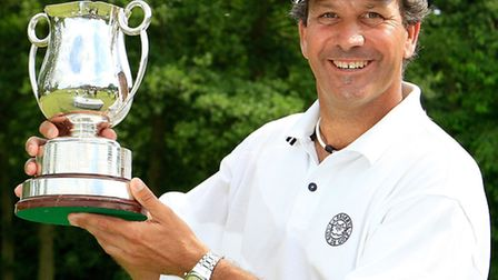 Santiago Luna of Spain poses with the trophy after the final round of the ISPS Handa PGA Seniors Cha