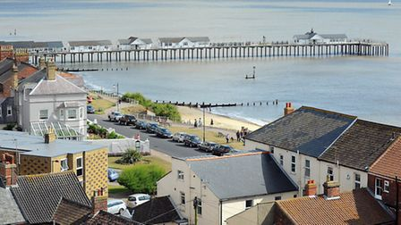 View from the top of Southwold lighthouse looking across to Southwold pier.