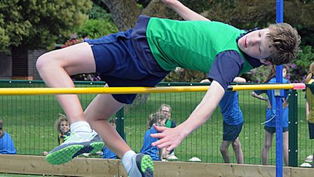 Will Dutton smashes his own school high jump record.Picture: Ted Blackbrow