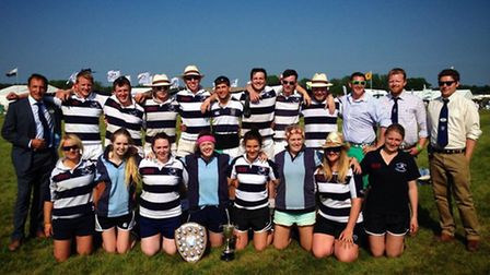 Halstead Young Farmers ladies' and men's team, who both won the tug of war finals at the Essex Young