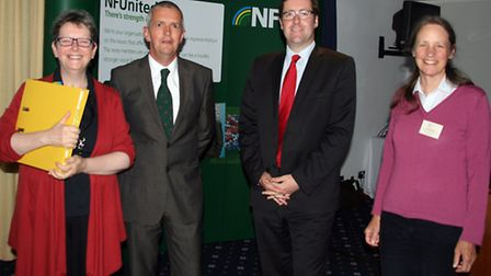 Julie Robinson, Guy Smith, Phil Bicknell and Elizabeth Ranelagh at the CAP reform meeting at Newmark