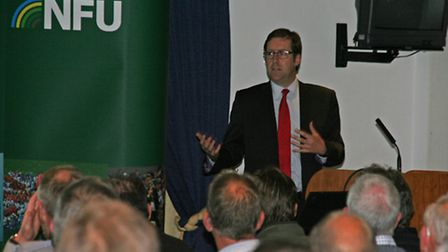 NFU Chief Economist Phil Bicknell speaking at Newmarket Racecourse.