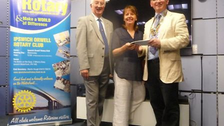 The Rotary Club of Ipswich Orwel presented £2,800 to Maureen Reynell of the F.I.ND charity (Families