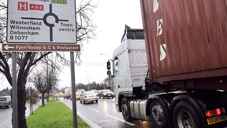 Traffic backs up on Valley Road in Ipswich due to Orwell Bridge's closure.