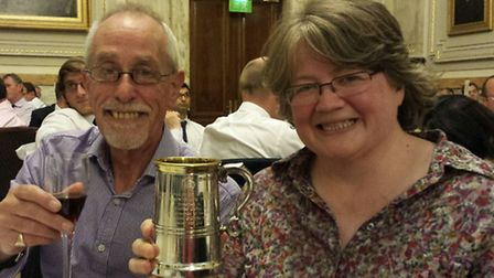 Suffolk Coastal MP Therese Coffey celebrating her Beer Parliamentarian of the Year award with Euan M