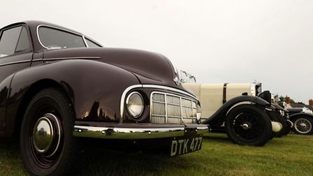Classic cars on the village green at Friston for the Classics on the Green event