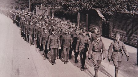 Troops heading for the First World War battlefield.