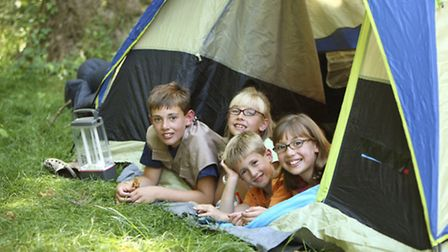 Group of children in tent
