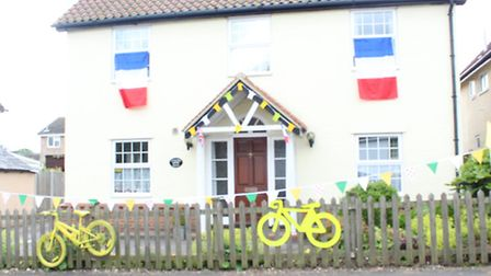 A house in Shalford decorated ready for the Tour de France
