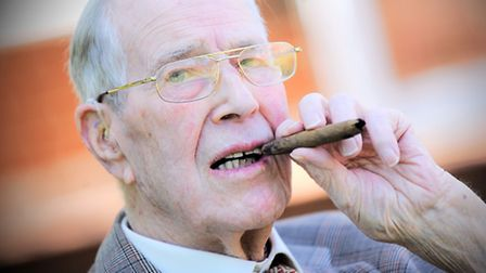 Rupert Cooper with the cigar he bought at an auction 50 years ago. The cigar was smoked by Winston C
