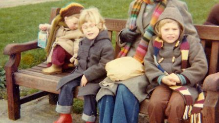 Dinah Jefferies and some of the commune children in Southwold