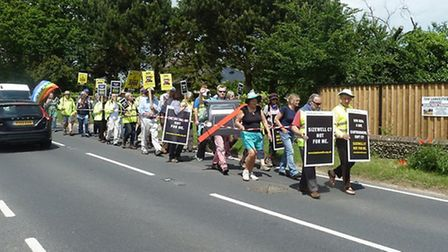 B1122 campaigners joined members of Together Against Sizewell C (TASC) on a protest walk earlier thi
