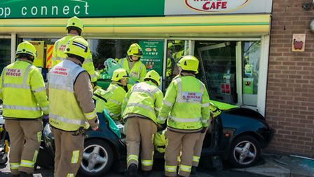 Crews work at the scene of the crash. Photo: Graham S Dean/Essex County Fire and Rescue Service
