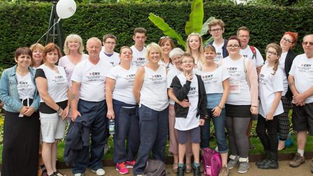 Melanie Webster (centre) with supporters on the CRY walk in London
