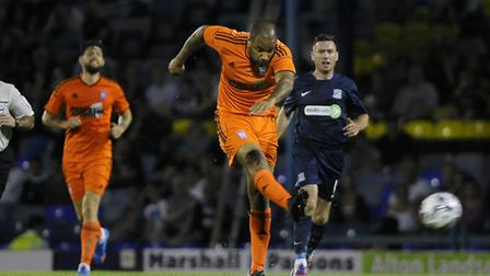 David McGoldrick tests the goalkeeper during the match against Southend at Roots Hall last night