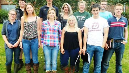 Presenter Phillipa Hall, front row, third from left, with contestants at the farmer's apprentice boo