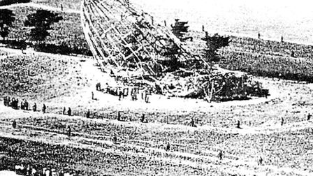 Soldiers guard wreckage of the Zeppelin at Theberton