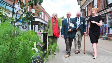 Anglia in Bloom Judges arrive in Halesworth to judge the Towns entry. Anntte Dunning and Tamsyn Imi