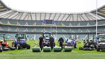Members of the grounds team at Twickenham with the stadium's fleet of Ransomes Jacobsen equipment.
