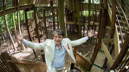 Tom Blofeld almost lost in his own Skymaze, a new attraction at Bewilderwood. Photo: Bill Smith