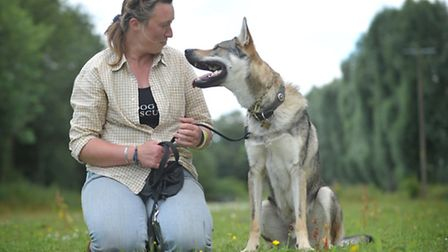 Sam Bryce with her Czechoslovakian Wolfdog, Loki. Loki has been trained to search for lost dogs Hi