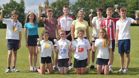 Josh Webster was the star guest at the Thomas Mills sports day. Josh Webster and Mrs Judith Kemp wit