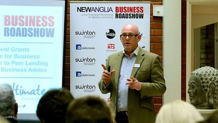 Gary Douglas-Beet of Business Shaper speaking at the first New Anglia Business Roadshow, which was h