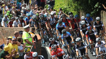 Thousands of people flocked to Finchingfield to greet the the Tour de France as they speed through