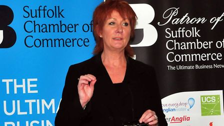 Nora Senior speaking at the Suffolk Chamber of Commerce AGM and Networking Lunch for June held at Uf
