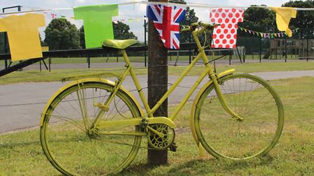Yellow bike in Shalford and bunting ready for the Tour de France
