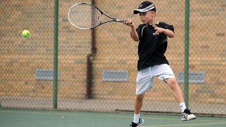 10 and unders Bury and West Suffolk champion Felix Dean fires in a forehand on his way to glory