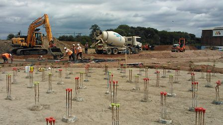 Groundworks for the new anaerobic digestion plant being built at Muntons' Stowmarket site