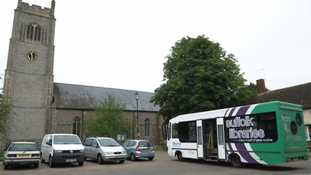James Marston meets some of the users of the Suffolk Mobile Library Service in the village of Laxfie