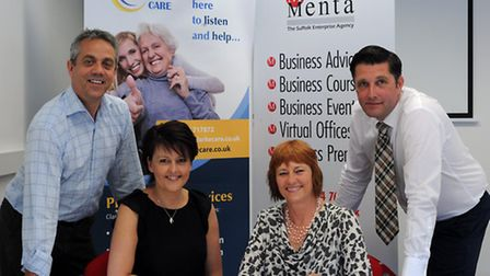 Simon Curtis and Lorraine Clarke of ClarkeCare with Jo Garden and Alex Till of Menta.