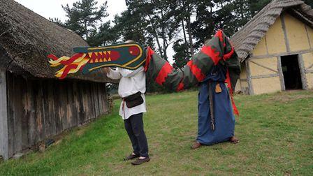 The Beowulf performance at West Stow Anglo Saxon Village by the Wulfingas AD 450-550 group. Brendan