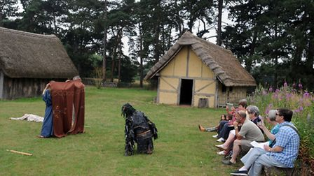 The Beowulf performance at West Stow Anglo Saxon Village by the Wulfingas AD 450-550 group.