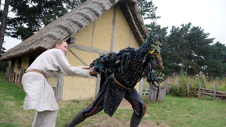 The Beowulf performance at West Stow Anglo Saxon Village by the Wulfingas AD 450-550 group. Lochlan