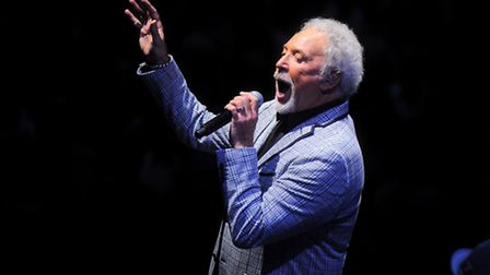 Tom Jones performing at Newmarket race course.