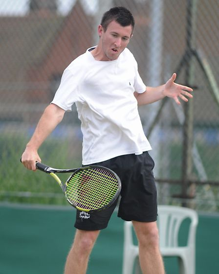 Hough fires in a backhand on his way to glory at the Aegon British Tour final in Felixstowe